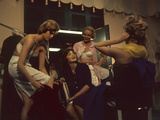 Fashion Models after a David Crystal Show Backstage, New York, New York, 1960 Photographic Print by Walter Sanders