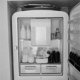 Refridgerator Stocked with Milk and Soda at the Ford Modeling Agency Owned by Eileen Ford Photographic Print by Nina Leen