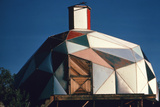 Exterior View of a Geodesic Dome House, with an Angled, Wooden Barn-Style Door Photographic Print by John Dominis