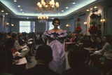 Fashion Model Shows Off a Christian Dior Design to Buyers and Press, New York, New York, 1960 Photographic Print by Walter Sanders