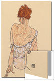 Seated Woman in Underwear, Rear View, 1917 Prints by Egon Schiele