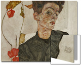 Self-Portrait with Chinese Lantern and Fruits Prints by Egon Schiele