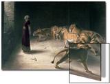 Daniel in the Lions Den, Mezzotint by J. B. Pratt, with Hand Colouring Posters av Briton Rivière