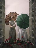 Models Posing with Umbrellas in a Macy's Department Store Display, New York, NY, 1948 Photographic Print by Nina Leen