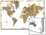 Gilded Map Prints by Hugo Wild