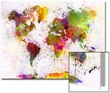 World Map in Watercolor Prints by  paulrommer