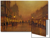 A Street at Night Prints by John Atkinson Grimshaw