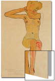 Seated Female Nude with Raised Right Arm, 1910 Prints by Egon Schiele