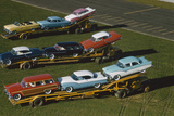 Elevated View of the 1954 Line of Ford Fairlaine Automobiles Photographic Print by Yale Joel