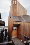View of the Front Door and Facade of a Wooden Floating Home in Portage Bay, Seattle, Wa, 1971 Fotodruck von Michael Rougier