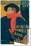 Aristide Bruant, Singer and Composer, at Les Ambassadeurs on the Champs Elysees, Paris, 1892 Prints by Henri de Toulouse-Lautrec