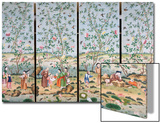 A Set of Four Chinese Painted Wallpaper Panels Depicting Chinese Figures in a Garden with Bamboo Posters by  Chinese School