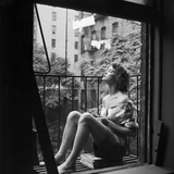 Model Jean Patchett on Fire Escape of Ford Modeling Agency, New York, New York, 1941 Photographic Print by Nina Leen