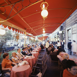 Rome's Cafe De Paris on Via Veneto, a Favorite After-Hours Sitting Spot for Natives and Tourists Photographic Print by Ralph Crane
