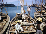 December 1946: Fishermen at in Port Au Prince Harbor in Haiti Photographic Print by Eliot Elisofon