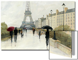 Eiffel in the Rain Marsala Umbrella Prints by Avery Tillmon