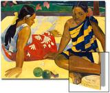 Two Woman of Tahiti. Parau Api (What's New) 1892 Affiches par Paul Gauguin