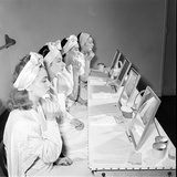 Helena Rubinstein Beauty School Training. Women Learning About Facials. 1940S Photographic Print by Nina Leen