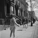 Children Jump Roping on Sidewalk Next to Brooklyn Brownstones, NY, 1949 Photographic Print by Ralph Morse