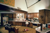 Walter Scale in the Kitchen of His Geodesic Dome House with His Children Photographic Print by John Dominis