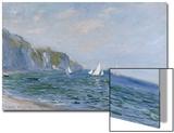 Klipper og seilbåter ved Pourville Posters av Claude Monet