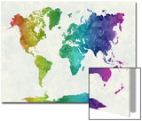 World Map in Watercolor Rainbow Poster by  paulrommer
