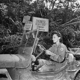 Red Cross Worker Janet Schwerton (Of Newton, Ma) Drives Jeep Along the Ledo Road, Burma, July 1944 Photographic Print by Bernard Hoffman