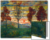 Four Trees, c.1917 Print by Egon Schiele