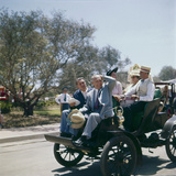 Walt Disney Riding on Automobile at Disneyland. Anaheim, California 1955 Photographic Print by Allan Grant