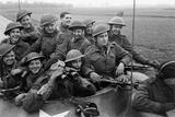 Members of the British 49th Armoured Personnel Carrier Regiment Riding Along a Line of Tanks Photographic Print by George Silk