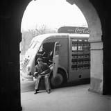 Delivery Truck Driver Sits with His Coca Cola Truck During His Route, France, 1950 Photographic Print by Mark Kauffman