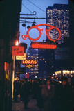 1945: Midtown Manhattan at Night with Neon Lights Advertising, New York, Ny Photographic Print by Andreas Feininger