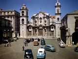 December 1946: Street Scene in Front of Columbus Cathedral in Havana, Cuba Photographic Print by Eliot Elisofon