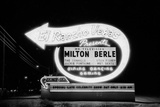 Lit Up Sign of El Rancho Vegas Advertising Milton Berle and Supporting Acts, Las Vegas, 1958 Photographic Print by Allan Grant