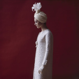Model Dressed in a White Turban, Gloves, and Brocade Coat by Yves St Laurent, Paris, France, 1962 Photographic Print by Paul Schutzer