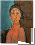 Girl with Pigtails, circa 1918 Posters by Amedeo Modigliani