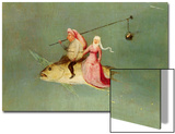 The Temptation of St. Anthony, Right Hand Panel, Detail of a Couple Riding a Fish Kunstdrucke von Hieronymus Bosch