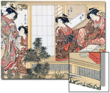Japanese Women Reading and Writing (Colour Woodblock Print) Art by Katsukawa Shunsho