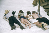 Skiers Sunbathing in Summer Fashions with Dog at Sun Valley Ski Resort, Idaho, April 22, 1947 Photographic Print by George Silk