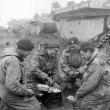 Members of the British 49th Armoured Personnel Carrier Regiment Cooking on the Side of a Road Photographic Print by George Silk
