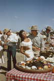 American Actor Rock Hudson Holds Actress Elizabeth Taylor While Filming 'Giant', Marfa, Texas, 1956 Photographic Print by Allan Grant