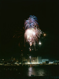July 4, 1959: View of a Fireworks Display Above the Detroit River, Detroit, Michigan Photographic Print by Stan Wayman