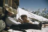 Skiers Smoking, Drinking and Sunbathing at Sun Valley Ski Resort, Idaho, April 22, 1947 Photographic Print by George Silk
