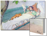 Woman Lying on a Bench, 1913 Print by Carl Larsson