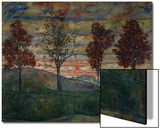 Cuatro árboles, 1917 Lámina por Egon Schiele
