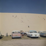 Tourists in Bathing Suits by Parked Cars and Climbing the Sleeping Bear Sand Dunes, Michigan, 1961 Photographic Print by Frank Scherschel