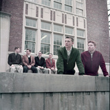 Midwest College Men's Fashion: Zipper Jackets Worn over Button Down Shirts with Sweater Vests, 1954 Photographic Print by Nina Leen