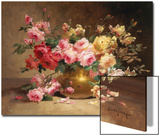 Rich Still Life of Pink and Yellow Roses Print by Alfred Godchaux