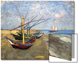 Fishing Boats on the Beach at Saintes-Maries-De-La-Mer Poster by Vincent van Gogh