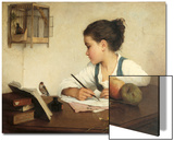 Young Girl Writing at Her Desk with Birds Pósters por Henriette Browne